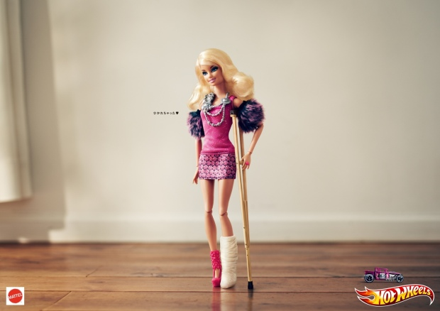 hotwheels print ad barbie