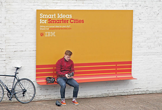 IBM outdoor ad France useful smart city